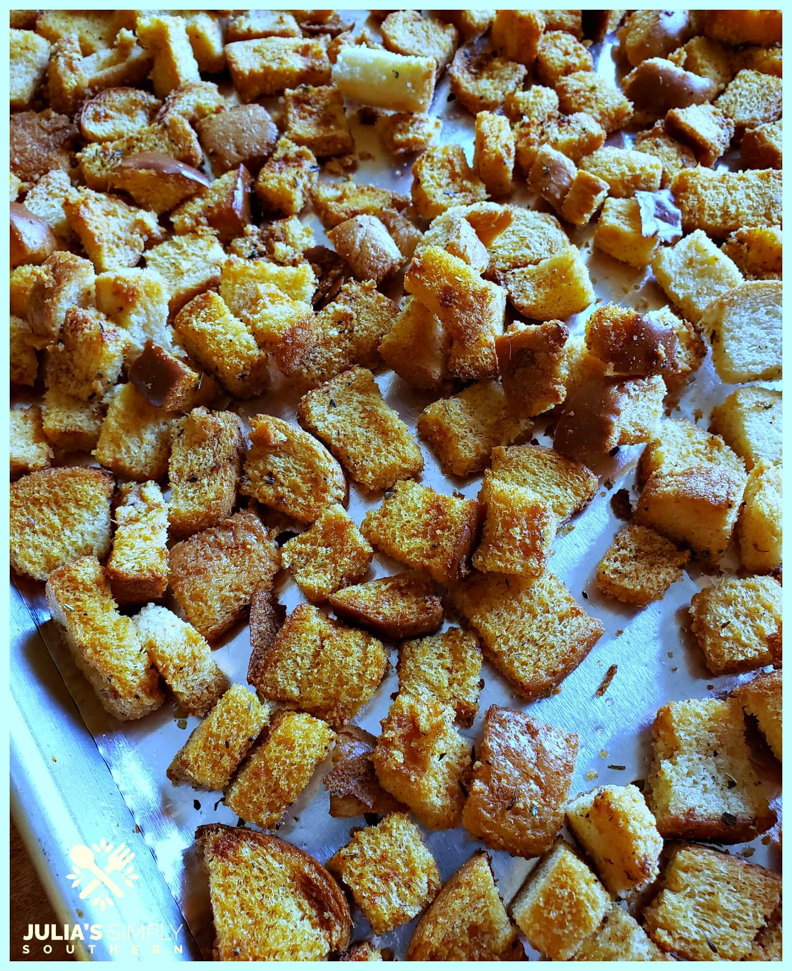 Baking sheet with homemade croutons for salads