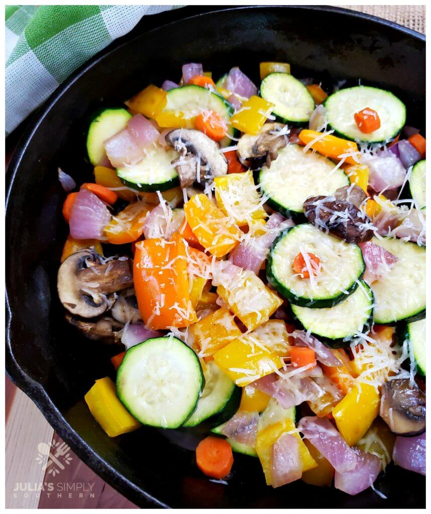 Healthy roasted vegetables with freshly grated Parmesan cheese