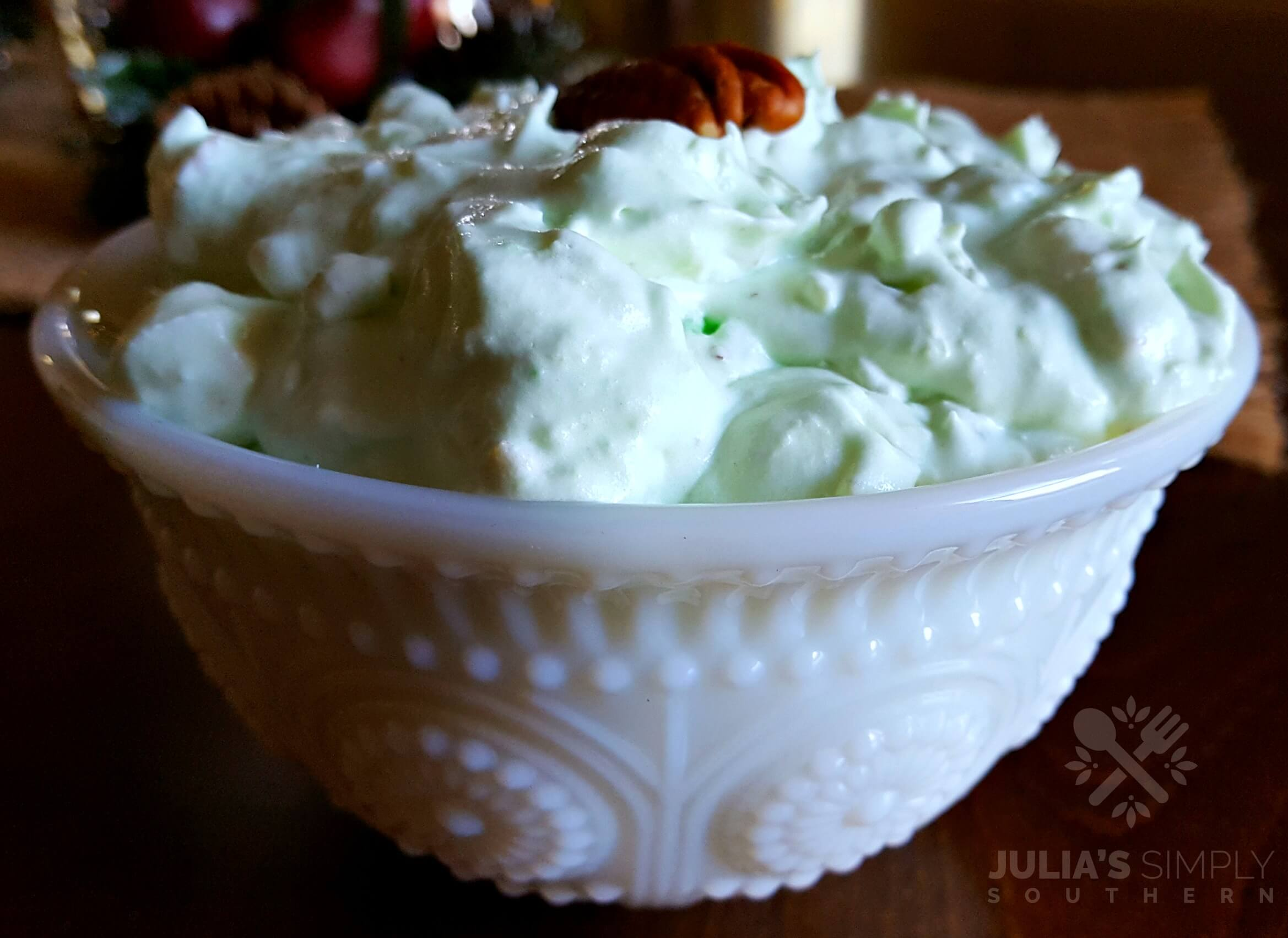 Easy Watergate Salad Side Dish Recipe in a White Bowl