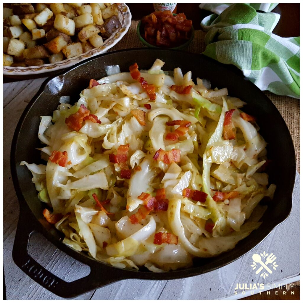 Southern Fried Cabbage in a Cast Iron Skillet