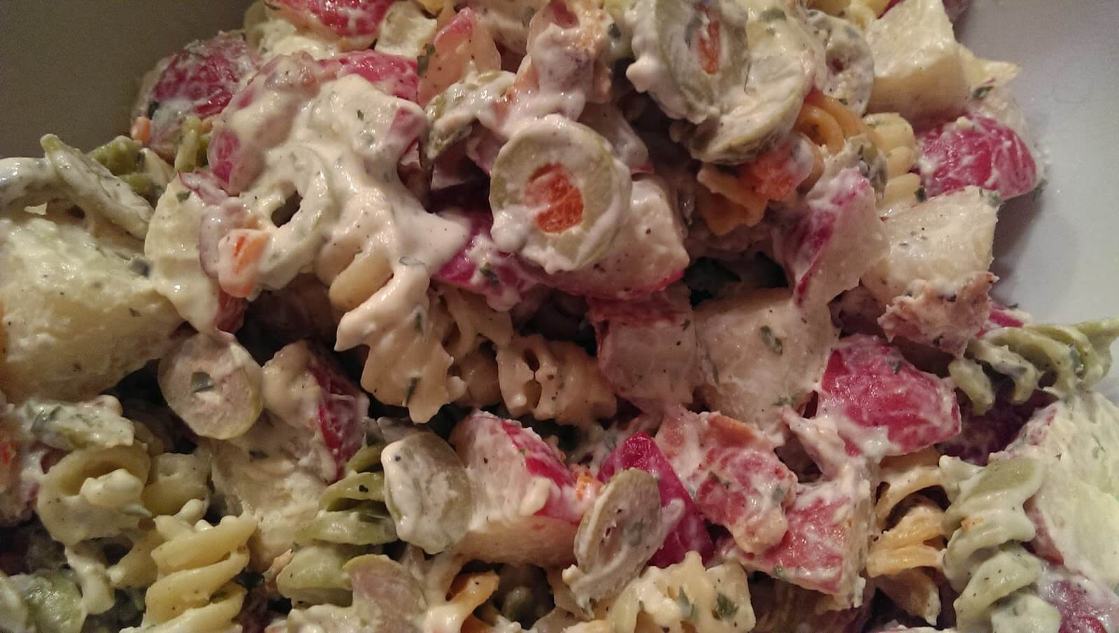 Baby Red Potato Salad with Green Olives and Bacon