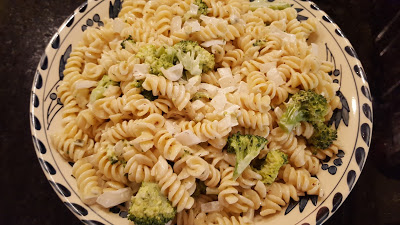 broccoli pasta salad in a bowl