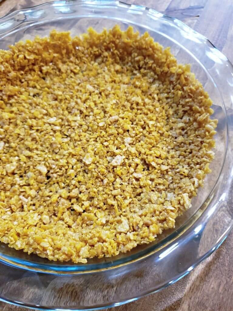 Pie crust in glass baking dish