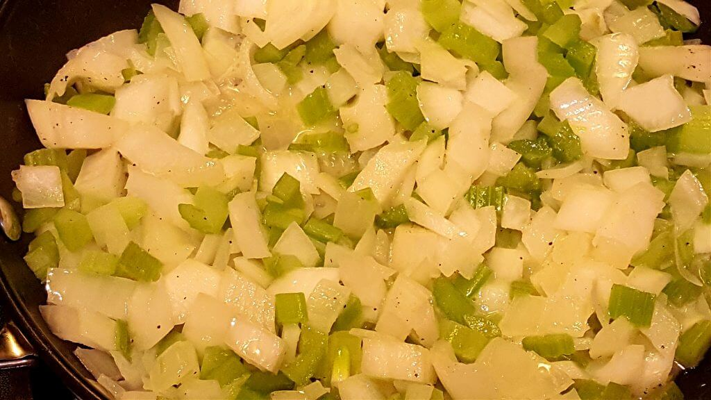 softening onion and celery in a skillet with butter